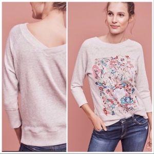 Anthropologie Postmark Gray Embroidered Sweatshirt